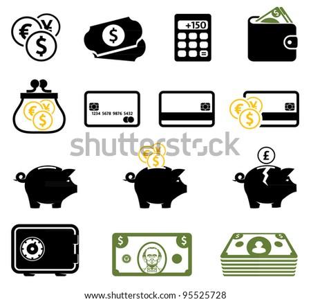 Finance symbols set - stock vector
