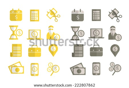 Finance, Tax and Banking flat design icons. vector - stock vector