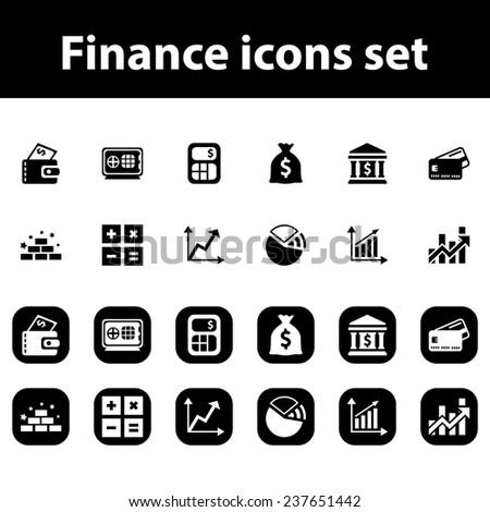 Finance vector icons set - stock vector