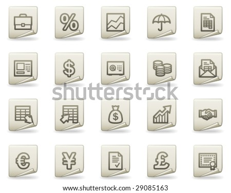 Finance web icons, document series - stock vector