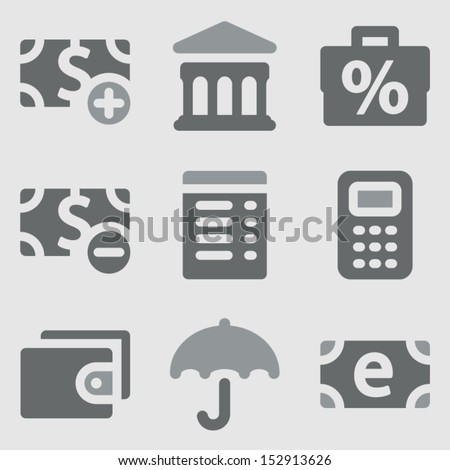Finance web icons set 2 grayscale icons - stock vector