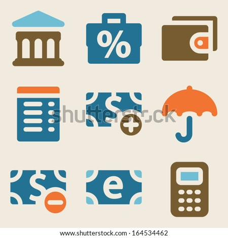 Finance web icons set 2 vintage color series