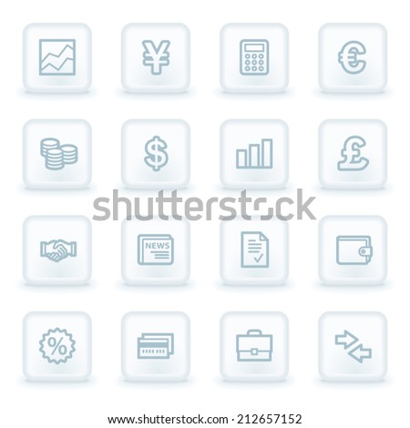 Finance web icons,  white square buttons - stock vector