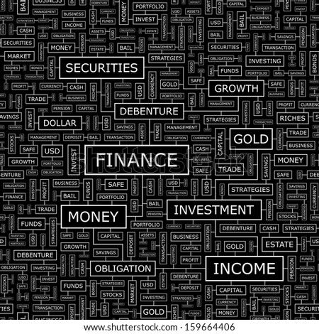 FINANCE. Word cloud illustration. Tag cloud concept collage. Vector illustration.