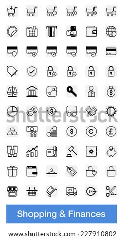 Finances and shopping icons, pixel perfect vector set - stock vector