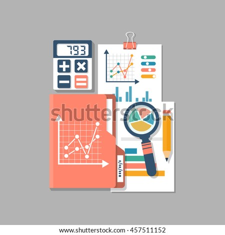 Financial accounting, concept. Organization process, budget planning, report, market analysis. Flat style vector illustration. Research analytics charts and graphs. - stock vector