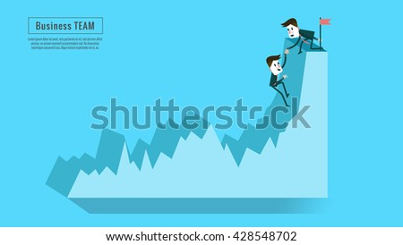 Financial adviser or business mentor help team partner up to profit growth. Concept of teamwork, friendship, success and goal . flat character design and elements. vector illustration - stock vector