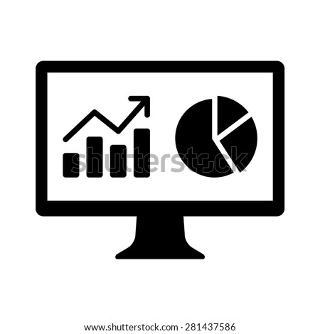 Financial analytic chart graphs on computer monitor flat icon - stock vector