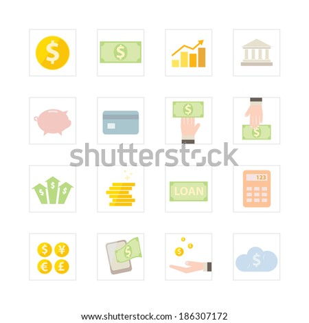 Financial and Banking icon set - stock vector