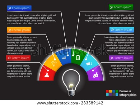 Financial and Business Infographic. Creative Light Bulb Idea, Half Circle With Business Icon and Text Information Design. Black Background. Vector Illustration. - stock vector
