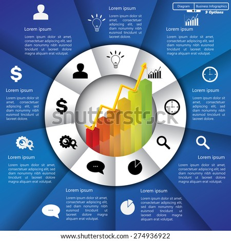 Financial and Business Infographic/Diagram with 9 Options, Graph/Chart Going Up, Business Icon and Text Information on Blue/White Background. Workflow/Element Layout Design. Vector Illustration. - stock vector