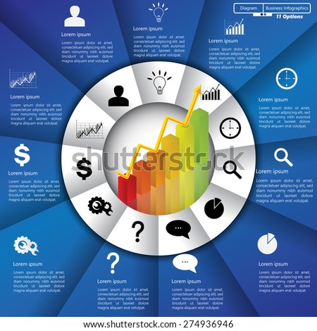 Financial and Business Infographic/Diagram with 11 Options, Graph/Chart Going Up, Business Icon and Text Information on Blue/White Background. Workflow/Element Layout Design. Vector Illustration. - stock vector