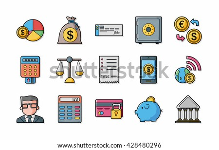 Financial and money icons set,eps10 - stock vector