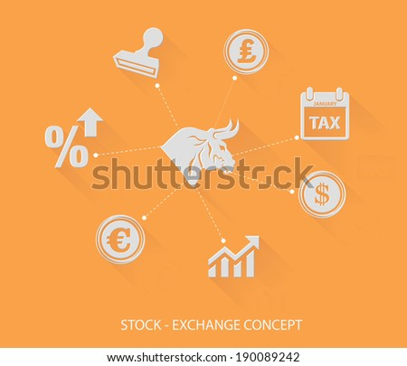 Financial and stock exchange concept,Blank for text,yellow version - stock vector
