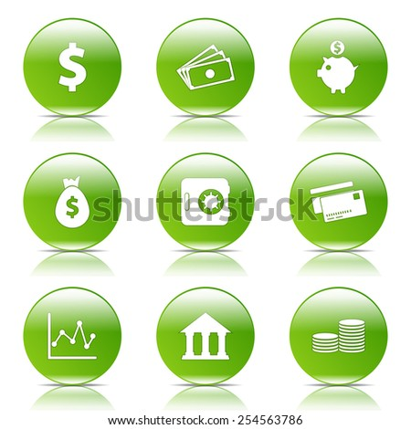 Financial Banking Green Vector Button Icon Design Set