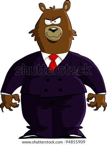 Financial bear on a white background, vector