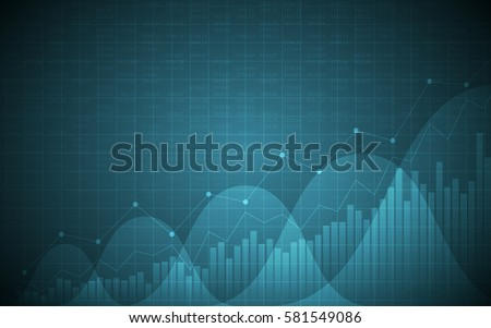 financial chart with uptrend line graph, bar chart and stock numbers in bull market on gradient blue color background (vector)