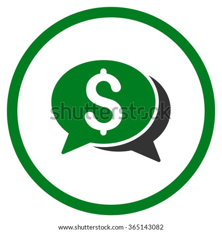 Financial Chat vector icon. Style is bicolor flat circled symbol, green and gray colors, rounded angles, white background. - stock vector