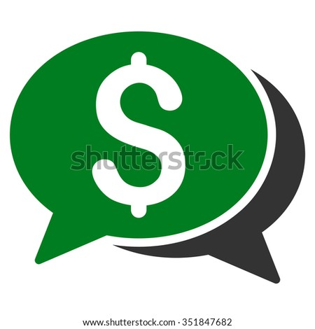 Financial Chat vector icon. Style is bicolor flat symbol, green and gray colors, rounded angles, white background. - stock vector