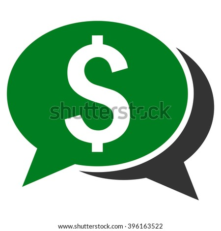Financial Chat vector icon. Style is bicolor flat symbol, green and gray colors, white background. - stock vector