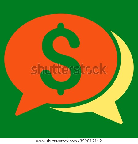 Financial Chat vector icon. Style is bicolor flat symbol, orange and yellow colors, rounded angles, green background.