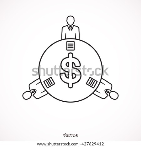 Financial Collaboration Round Table glyph toolbar icon for software design. Style is a gradient icon symbol on a white background.  - stock vector