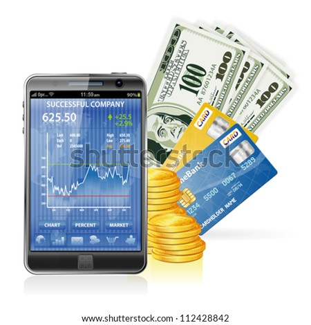Financial Concept  Make Money on the Internet with Mobile Smart Phone (Stock Market Application), Dollar Bills, Credit Cards and Coins - stock vector