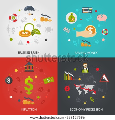 Financial crisis 4 flat Icons composition poster with inflation and recession business risks abstract isolated vector illustration - stock vector