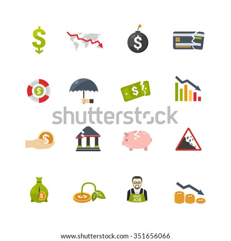 Financial crisis symbols flat icons set with currency banknotes and money box declining savings abstract isolated vector illustration  - stock vector