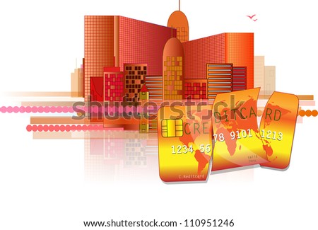 Financial crisis with red office and broken credit card - stock vector