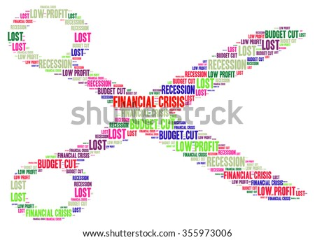 FINANCIAL CRISIS. Word collage on white background in vector format. Illustration with different association terms.  - stock vector