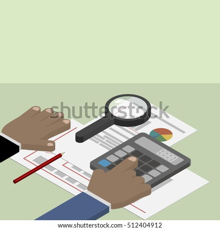 Financial Data Analysis Businessman Magnifying Glass Stock Vector