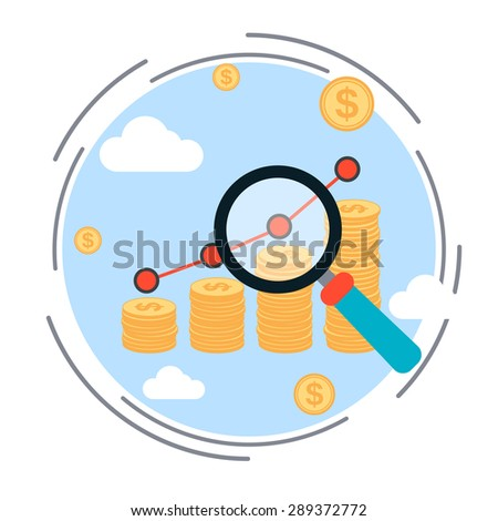 Financial diagram, business success, profit increase, business statistics flat design style vector illustration - stock vector