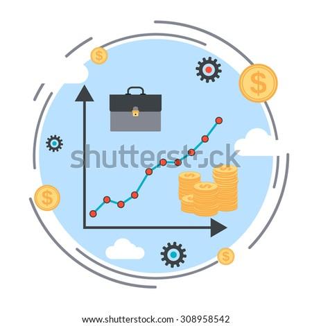Financial diagram, business success, profit increase, business statistics flat design style vector illustration - stock vector