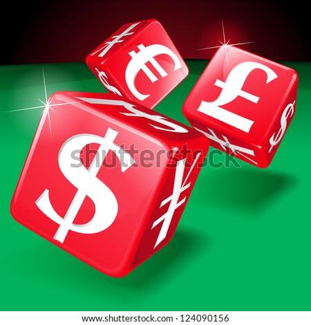 Financial Gambling Money Dice - stock vector