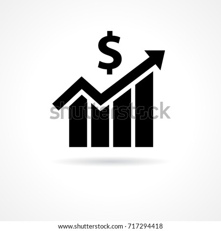 Financial Growth Icon Flat Financial Business Stock Vector 717294418