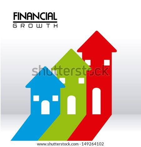 financial growth over gray background vector illustration