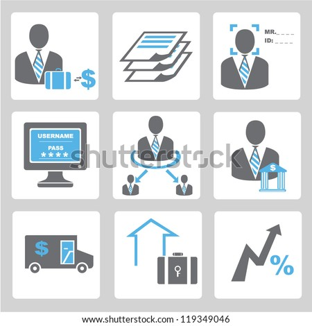 financial icon set,banking business icon set - stock vector