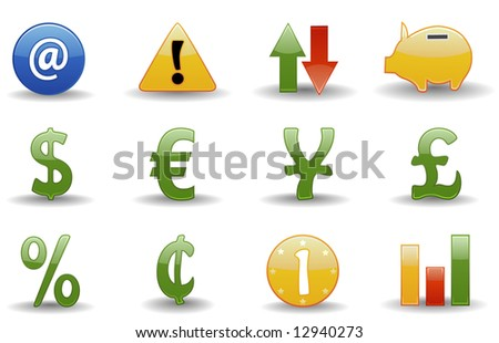Financial icons | Glossy series part 2 - stock vector