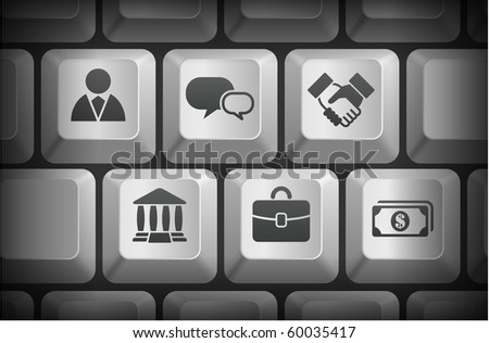 Financial Icons on Computer Keyboard Buttons Original Illustration - stock vector