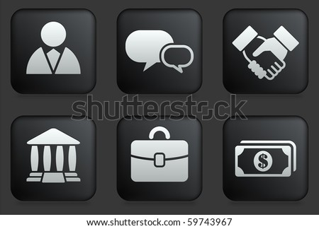Financial Icons on Square Black Button Collection Original Illustration - stock vector