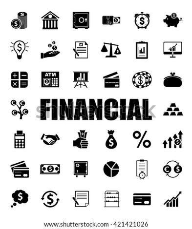 Financial icons set - stock vector