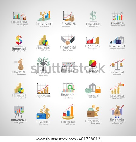 Financial Icons Set-Isolated On Gray Background-Vector Illustration,Graphic Design.Collection Of Color And Colorful Icons.Different Logotype Shape.Modern Logo - stock vector