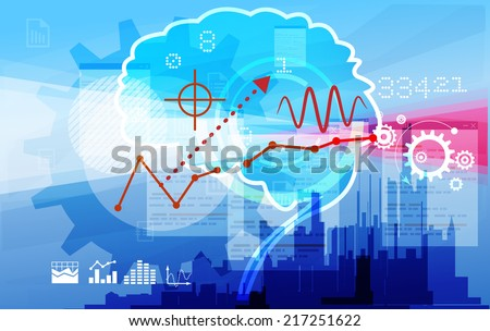 Financial Information Processing Abstract - Illustration - stock vector