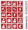 financial management and bank icon, red color icon - stock photo