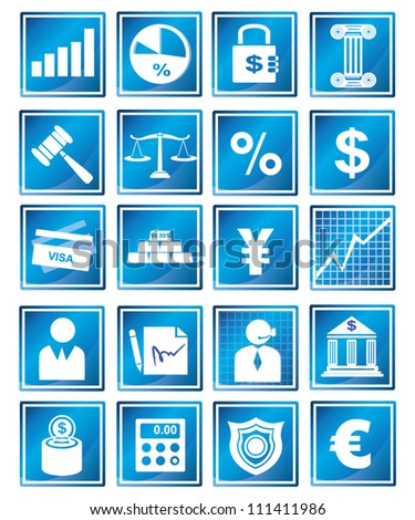 financial management and banking icon set, blue icon - stock vector