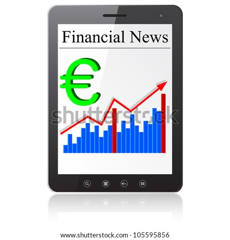 Financial News euro on Tablet PC. Isolated on white. Vector  illustration.