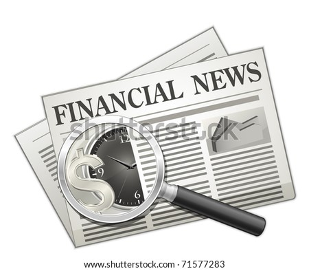 Financial news. Newspaper and Magnifying glass - stock vector
