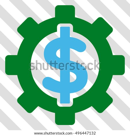 Financial Options vector icon. Image style is a flat blue and green pictogram symbol on a hatched diagonal transparent background.