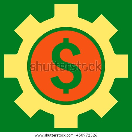 Financial Options vector icon. Style is bicolor flat symbol, orange and yellow colors, green background.